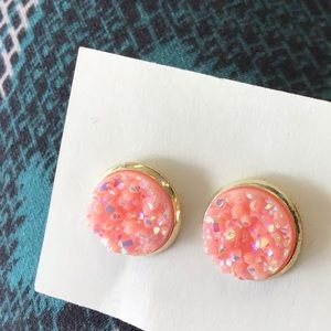 Pink Glitter Stud Earrings!